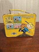 Vintage Snoopy Peanuts Metal Lunch Box And Thermos