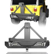 Steel Rear Bumper W/ Tire Carrier And Led Lights For 1987-2006 Jeep Wrangler Yj Tj