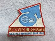 1962 Seattle Worlds Fair Bsa Boy Scout Of America Patch Service Scouts Badge