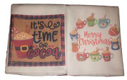 2 Pk Christmas Cocoa Themed Holiday Kitchen Towels-16x16 Inches