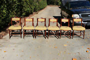 Premium Set Of Six Solid Walnut Victorian Dining Chairs With Needlepoint Seats