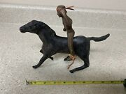 Large Plastic Indian And Horse - 9 Long - Vintage 1950s