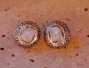 Vintage Style Rainbow Moonstone And 925 Sterling Silver Earrings By Silver Trend