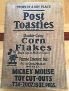 1934 Post Toasties Corn Flakes Mickey Mouse Toy Cut-outs Original Box Lid