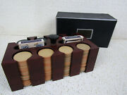Vintage Clay Poker Chips In Wood Caddy, 197 Chips And 2 Decks Cards With Cover