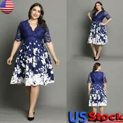 Plus Size Women Printed Lace Half Sleeve Midi Dress Ladies V-neck Party Gown Usa