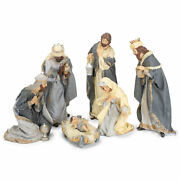 Nativity Scene With Glitter Accents Soft Grey And Ivory Resin Figurines Set Of 6