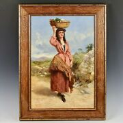 British John T. Lucas 1836-1880 Antique Oil On Canvas Painting Girl With Basket