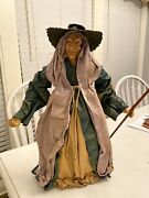 Vintage Witch Early Paper Mache Rare Halloween Witch W/ Broom 18 Inches Tall