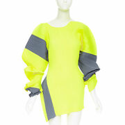 Runway Issey Miyake 2d Neon Yellow Grey Pleated Voluminous Sleeves Dress S