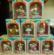 Precious Moments Christmas Ornaments Lot Of 9-- 1995-1996 Home For The Holidays