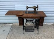 Antique 1910 Singer Sewing Machine W/ Treadle Oak Cabinet Cast Iron Base