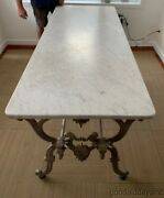 Antique French Cast Iron Marble Top Butcherand039s Table With 4 Steer / Bull Heads