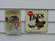 2 Sign Lot - Rise And Shine Farms And Fresh Eggs Nostalgic Metal Signs