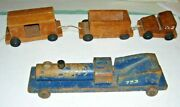 Antique Wood Toy Train Locomotive Railroad Engine And 3 Cars ,set Of 4