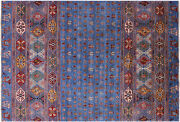 6' 5 X 9' 7 Hand Knotted Gabbeh Tribal Wool Rug - Q5507