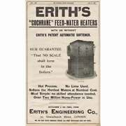 Erith Engineering Co London Feed Water Heaters -antique Engineering Advert 1905