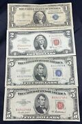 Us Paper Currency Collection 5 Dollar Blue 5 Dollar Red Seal 2 Dollar Red Seal