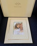 Lenox Criss Cross Ivory China Photo Picture Frame 5×7 New In Box 1stq Perfect