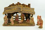 Vintage Wood Nativity Set Creche Manger 16 With Moss And 10 Chalkware Figures 5