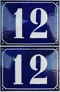 Large Blue French House Number 12 Door Gate Plate Plaque Enamel Sign C1950 X 2