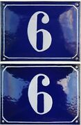 Large Blue French House Number 6 Door Gate Plate Plaque Enamel Sign C1950 X 2