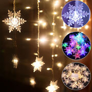 Christmas Snowflake Led Curtain String Lights Outdoor Xmas Party Fairy Light Us