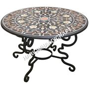 48 Round Marble Top Dining Table Marquetry Inlay Furniture Decoratives E636a