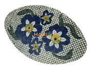 4and039x2and039 Marble Oval Coffee Table Top Lapis Floral Mosaic Inlay Patio Decor B073