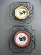 Milson And Louis Plates Hand Painted Rooster Inticate Wire Basket Frame Set Of 2