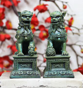 Ebros Chinese Forbidden Palace Guardian Pair Fu Foo Dogs Lions Figurine Bookends