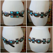 Vintage Native American Indian Concho Sterling Silver And Turquoise Belt C1970s