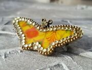 New Pilgrim Butterfly Charm Brooch Crystal Flower Yellow Clear Pattern