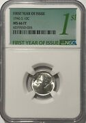 1946 S Ngc Ms66 Ft Silver Roosevelt Dime 10c 90 Full Torch First Year Issue