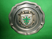German Pewter Wall Plaque - City Of Aichach, Germany Acorns