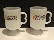 2 Vintage Contact Delivery Service Pedestal Footed White Milk Glass Coffee Mug