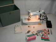 Vintage 1964 Singer Featherweight 221 White Great Britain Ev With Case And Extra