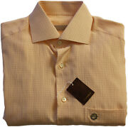 Stefano Ricci Peach Pattern Long Sleeve Shirt- Size 38-made In Italy