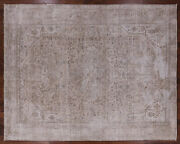 9' 8 X 12' 1 Vintage White Wash Hand Knotted Wool Rug - Q1965
