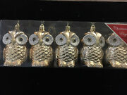 Beautiful Golden Owls Set Of Five Unique Christmas Holiday Ornaments