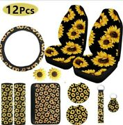 Sunflower Printed Design Universal Car Front Seat Covers Cushions Protector