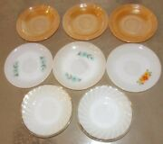 Lot Of 8 Anchor Hocking Fire King 6 Dessert Glass Saucer Plates - Diff Patterns