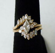 Vintage 14k Gold 1.6 Ct Diamond Double Shank Ring Size 7.5 Large Marquise Round