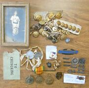 Mixed Group Us Ww1 Ww2 Photo Dog Tags Marksman Sterling Badges Medals Buttons