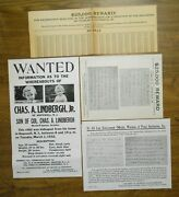 4 Original Lindbergh Baby Abduction Rewards Posters New Jersey Police Station