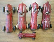 Group Of 5 Vintage Rubber Safe Play Toys Arco Auburn Race Cars 10 And 7
