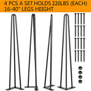 Vevor Hairpin Table Legs 16 To 40 Coffee Table Metal Legs 3-rod Iron Set Of 4