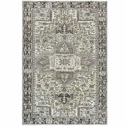 7'10x11'5 Semi Antique Washed Out Ivory Farsian Heris Hand Knotted Rug R60336