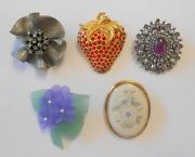 5 Costume Brooch Pins Lenox Gold Filled Avon Sarah Coventry Flowers Strawberry