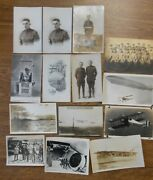 Grouping Of 14 Military Postcards And Photos Ww1 Ww2 Soldiers Ship Planes Zeppelin